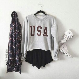 sweater shorts red grey usa pullover crop instagram usa pullover