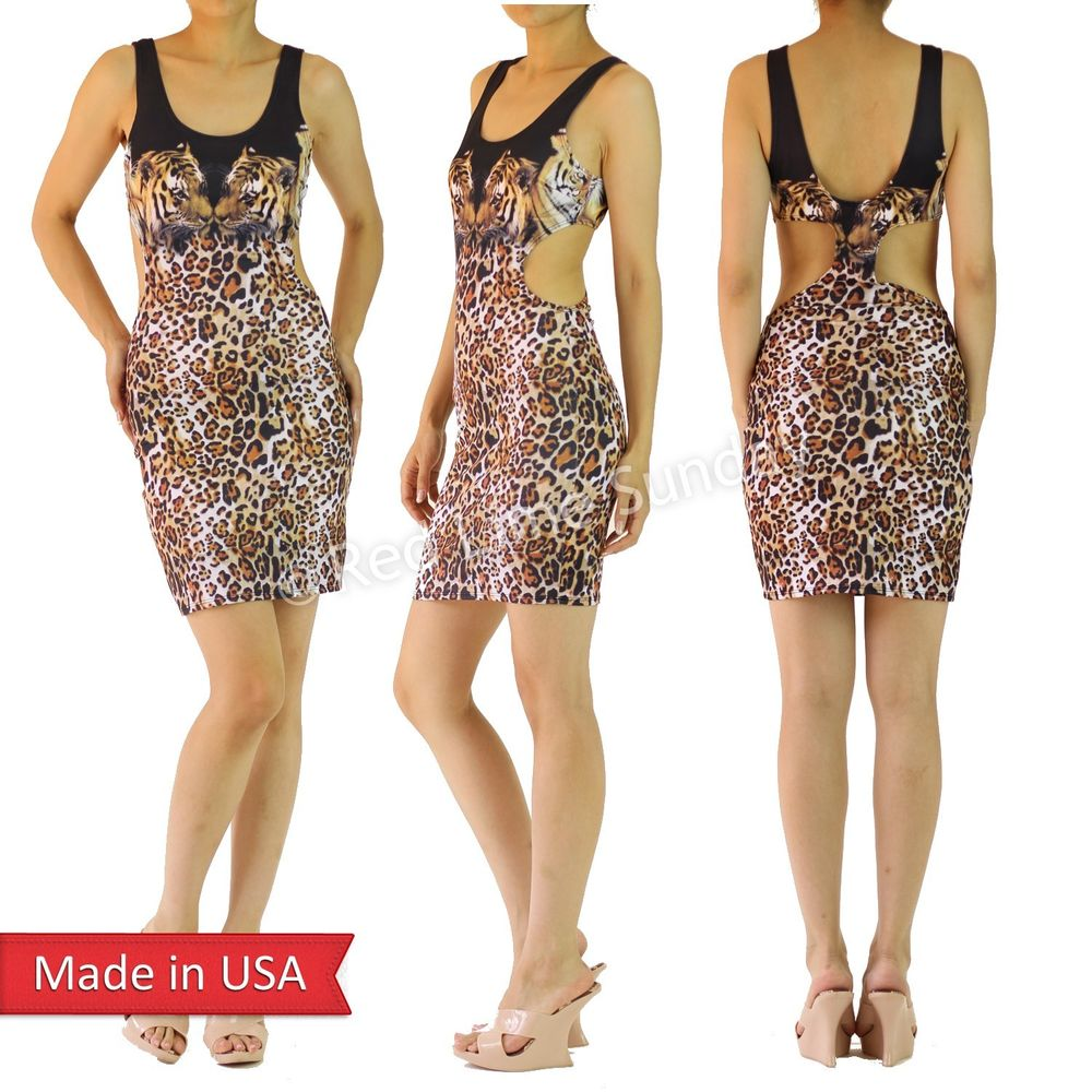 Women Tiger Animal Print Leopard Bodycon Sexy Side Cut Out Fitted Mini Dress USA