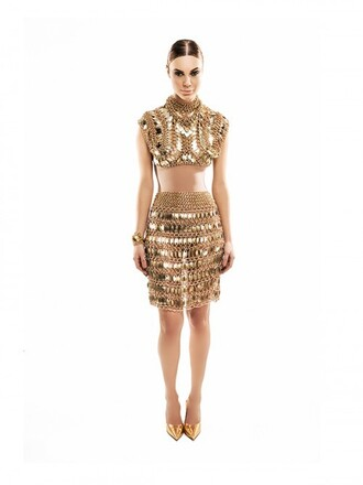 top chain gold edgy fierce modern embellished egyptian vogue runway new year's eve night clubwear party event different