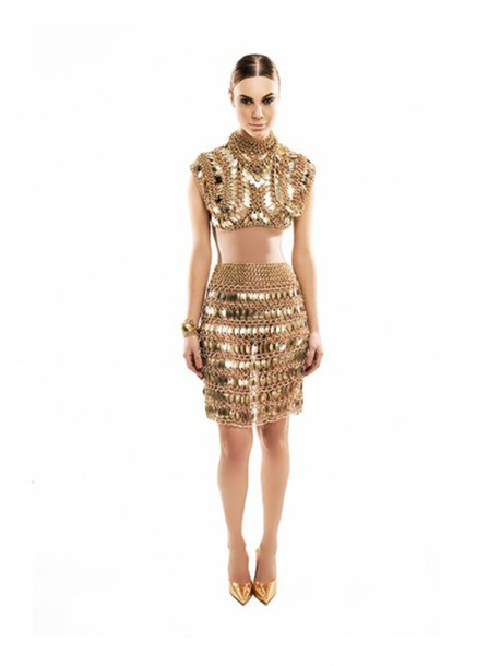 top chain gold edgy fierce modern embellished egyptian vogue runway new year's eve night clubwear party event