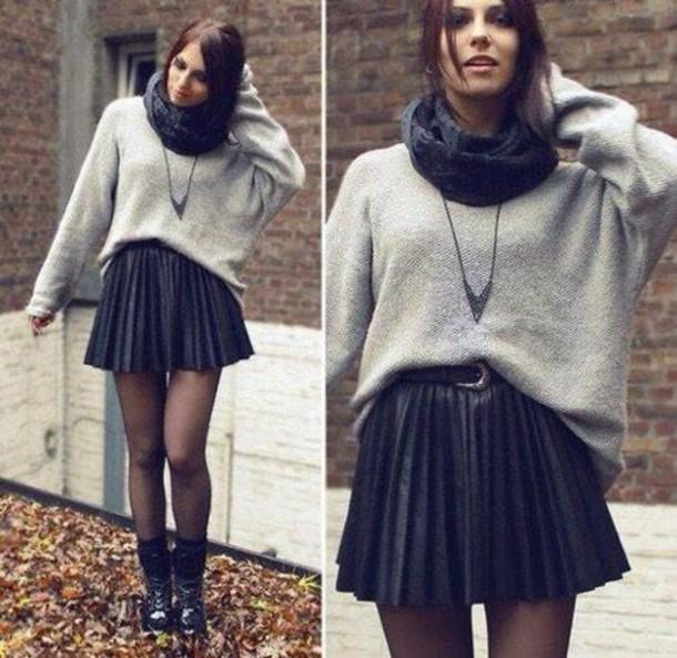 skirt short skirt black skirt scarf sweater shoes