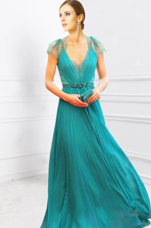 Elegant line princess neck ruffles chiffon prom dresses