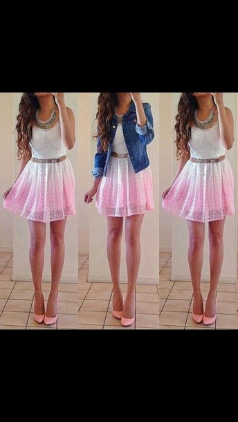 dress white to pink cute outfits gradient