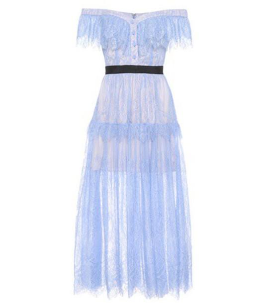 self-portrait dress midi dress midi lace blue