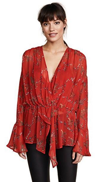 Iro blouse red top