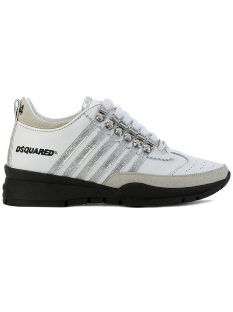 Dsquared2 metal women sneakers leather white shoes