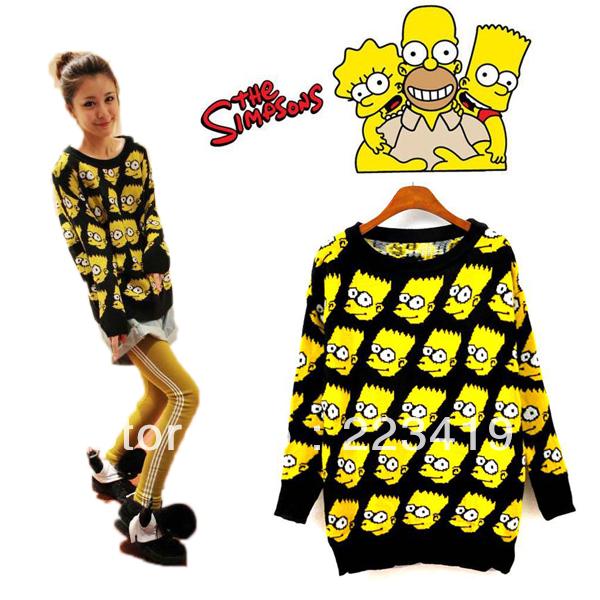 Fashion Bart Simpson Pullover Sweater Women Clothing Cartoon Autumn