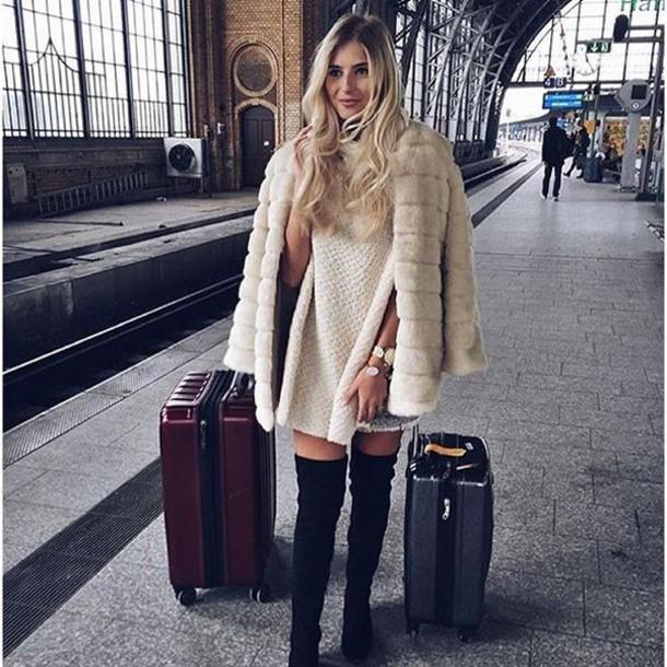 coat, storets, faux fur, faux fur coat, winter outfits, winter coat, white,  white coat, blogger, streetstyle - Wheretoget