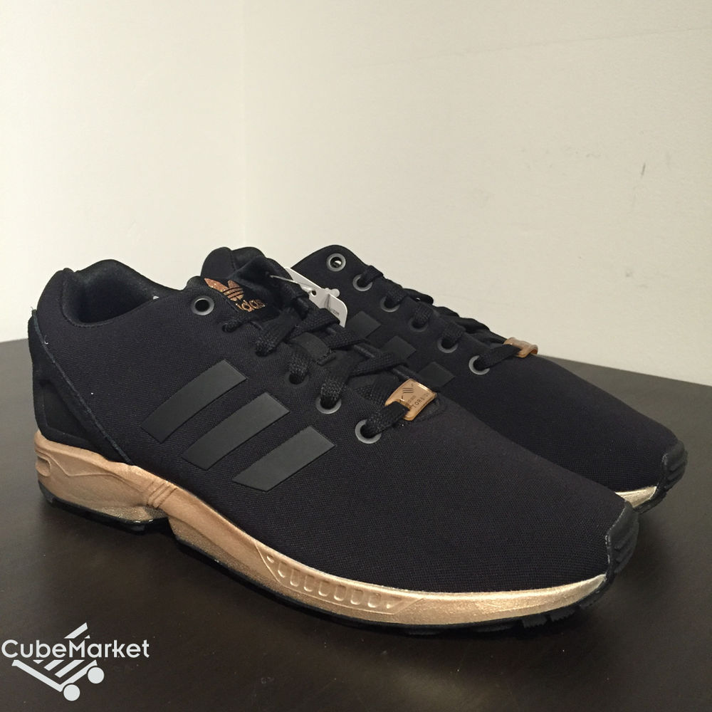New Women s Adidas ZX Flux W Black Copper Metallic Rose Gold ... 158859326f