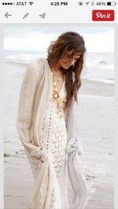 dress,bohemian dress,style,crochet,white dress,maxi dress,v neck,summer outfits,scarf,beige,lace dress