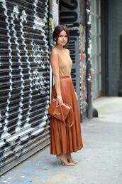 skirt,brown skirt,maxi skirt,leather skirt,leather,brown leather,midi skirt,pleated skirt,hermes bag,hermes