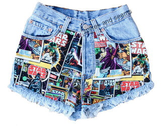 shorts comic book print spikes & seams acid wash star wars comics darth vader denim shorts starwarstheforceawakens