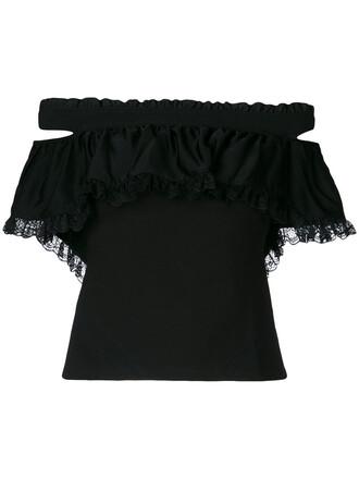 top ruffle women spandex black