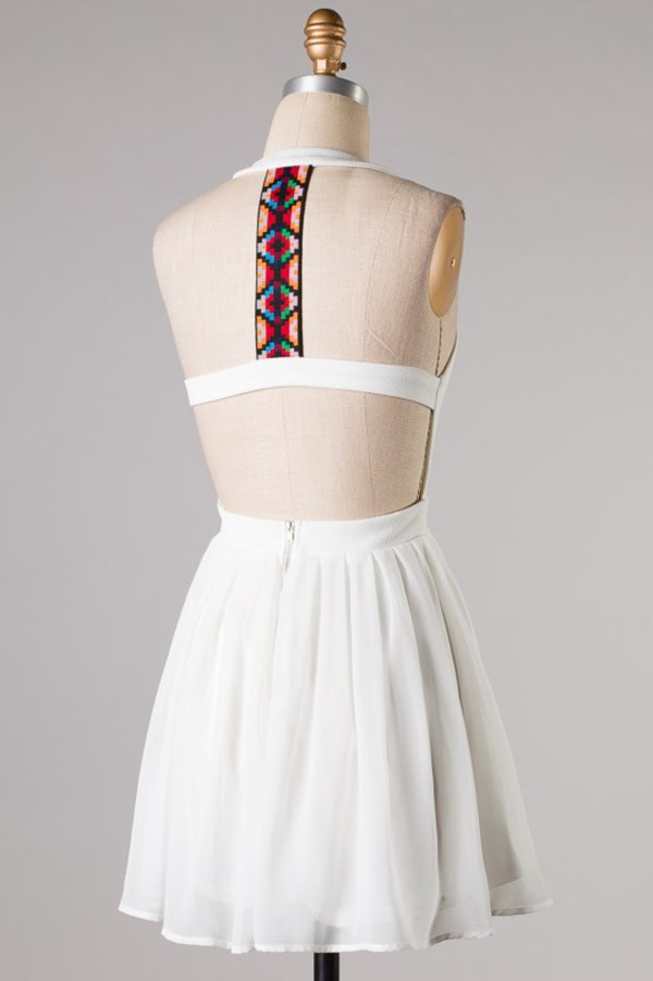 dress white white dress aztec no sleeves no sleeve no back no back dress