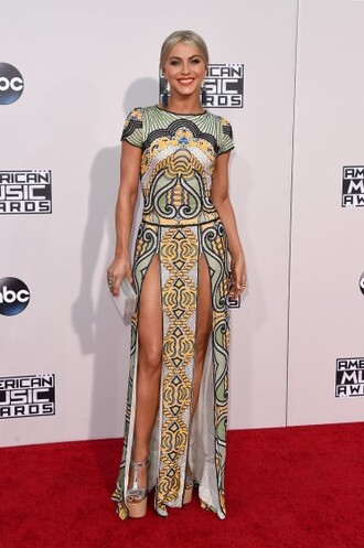 dress patterned dress slit dress julianne hough amas 2015 sexy dress