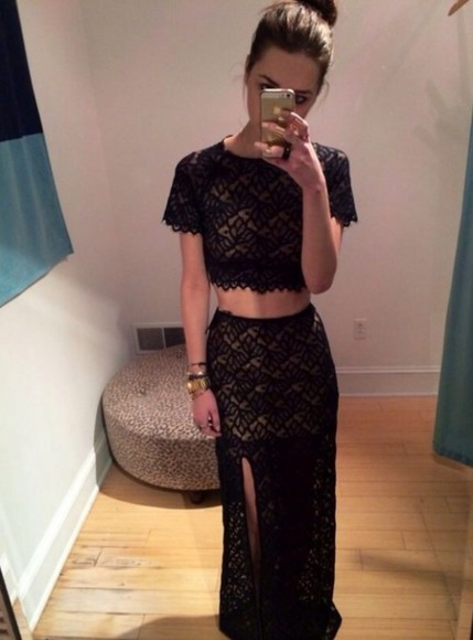 lace dress black lace top two-piece outfit