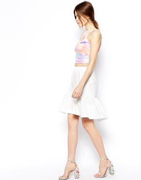 ASOS | ASOS Mini Skirt In Texture With Peplum Hem at ASOS