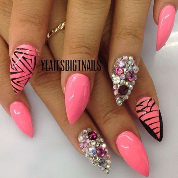 nail polish pink swarovski crystal