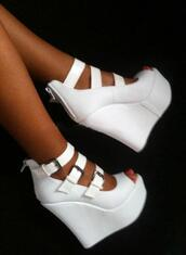 shoes,white,sandals,high,wedges,heels,pumps,white wedges,buckles,straps,heel,high heel,silver buckle,white and silver,white high heels,buckled heels,high heels,tanned,inlove,lookalike,strappy heels,strappy wedge,white shoes,peep toe,white heels,strappy wedges,skirt