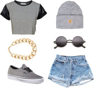 shirt crop tops leather sleeves gray shirt
