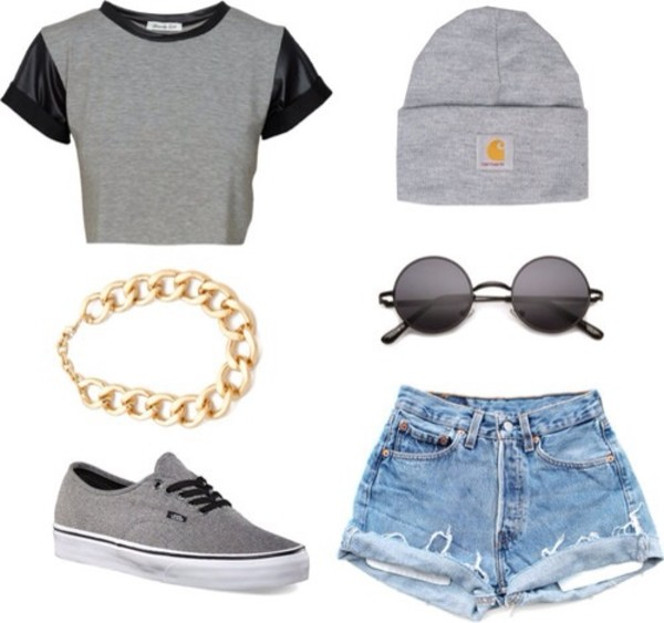 shirt crop tops crop tops leather sleeves gray shirt