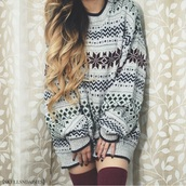 sweater,winter outfits,tumblr,oversized,christmas sweater,tights,socks