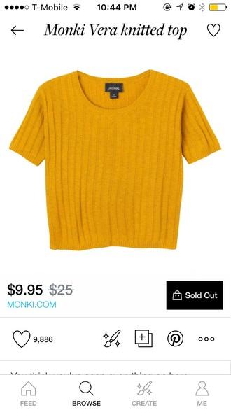 t-shirt yellow top crop tops