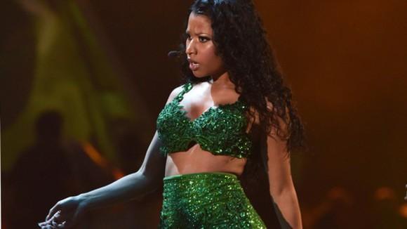 top nicki minaj green costume sparkle bralette