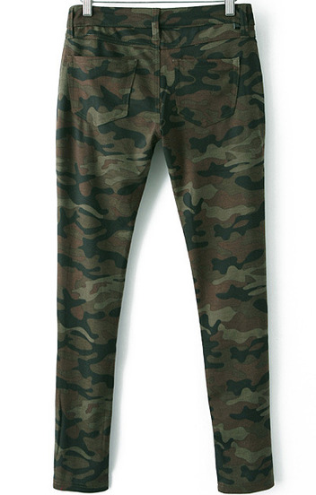 Army Green Camouflage Low Waist Pant - Sheinside.com