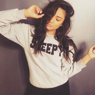 sweater oversized sweater model quote on it brunette grey cute cold