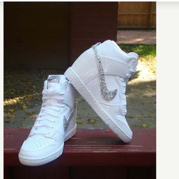shoes, custom bling rhinestone white croc snake nike dunk sky hi wedge  sneaker, white, nike, nike dunks, wedding shoes, custom nikes, rhinestones,  ...