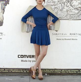 dress feminine elegant blue girly trendy fashion style short dress summer classy cute long sleeves