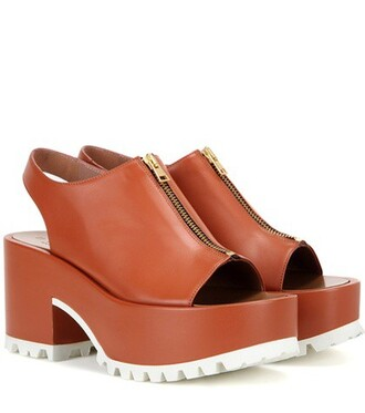 sandals platform sandals leather brown shoes