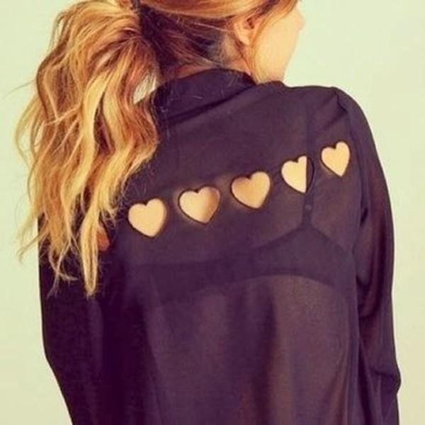 blouse black clothes heart cut-out transparent