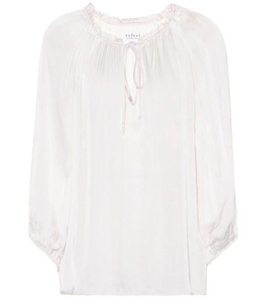 Velvet blouse white top
