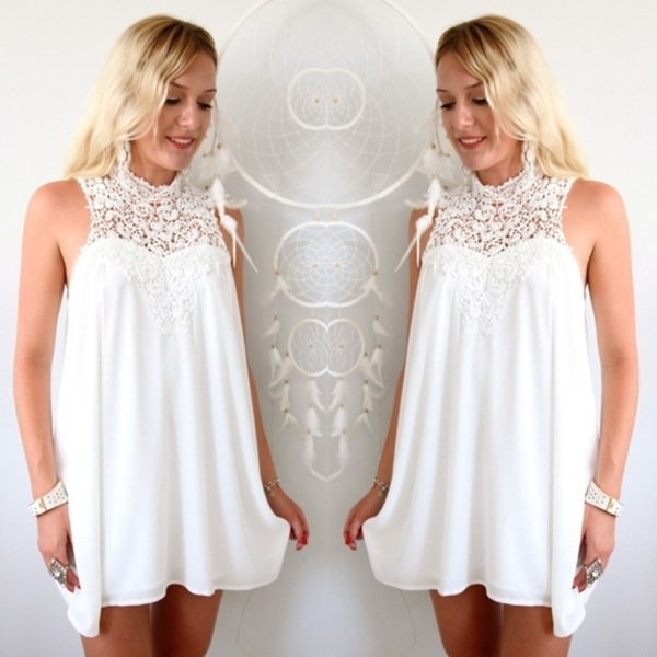 White Dreamland Lace Crocheted High Neck Cocktail Shift Dress 6 8 10 12 | eBay