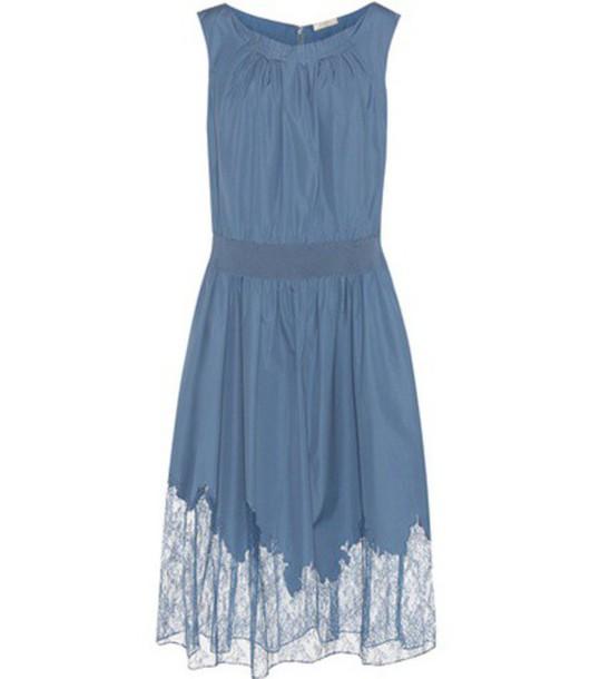 Nina Ricci Lace-trimmed Dress in blue