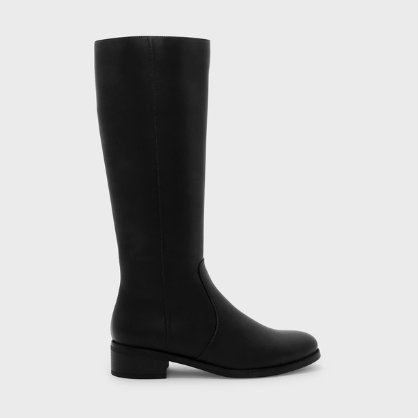 basic high knee high knee high boots black shoes