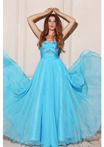 A Line Sweetheart Floor Length Blue Chiffon Prom Dress Adoaa0002 - Prom Dresses - Special Occasion Dresses