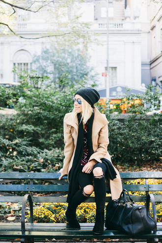 damsel in dior blogger bag jeans grunge camel ripped jeans fall outfits shoes shirt coat hat