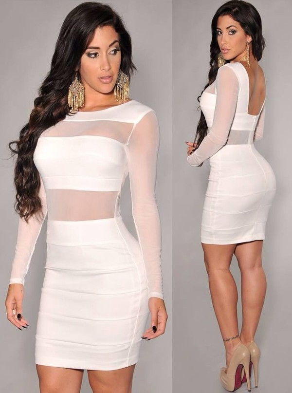 b045db95b2 Off-White Mesh Inserts Long Sleeves Dress