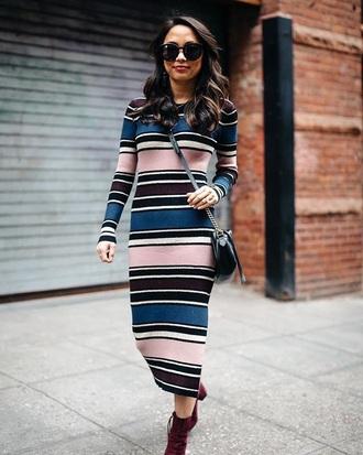 dress stripes sunglasses boots striped dress midi dress knitted dress long sleeves