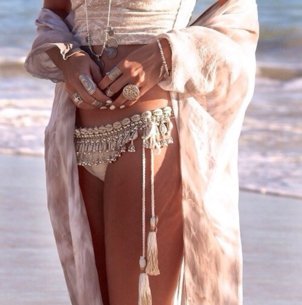 belt beaded fringes shell waist chain swimwear jewels cardigan beige swimwear sea beige coral hipster bohemian shell summer swimwaer