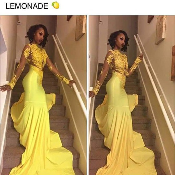 Dress: beautiful, elegant, yellow, yellow dress, long dress, lace ...