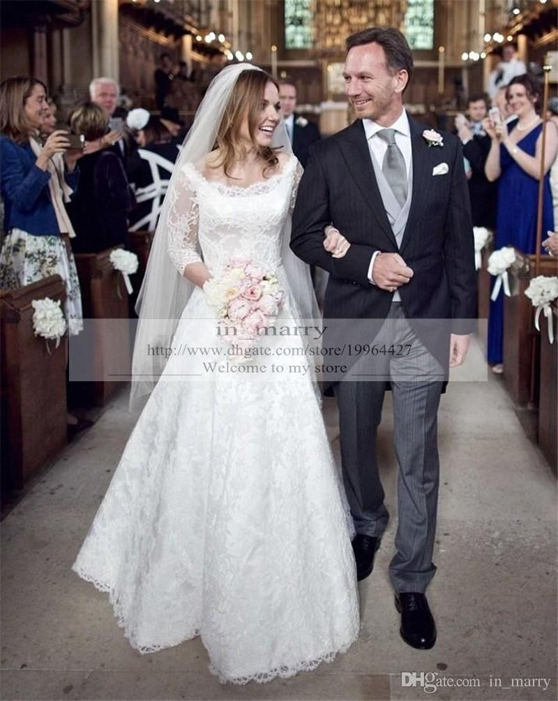 Princess Kate Middleton Winter Wedding Dresses Long Sleeves 2016 A