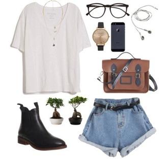 shorts hipster short demin shorts denim shorts summer summer outfits sunglasses jewels bag earphones