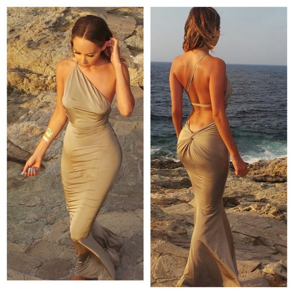 backless dress sexy dress tan dress draped jersey dress evening dress one shoulder