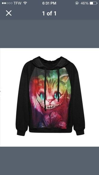 sweater black galaxy cheshire cat
