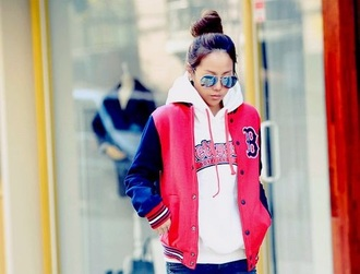 jacket red baseball jacket cool style dope swag
