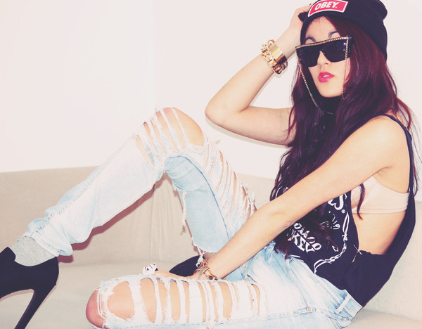 jeans obey beanie ripped jeans black high heels shades gold bracelet swag